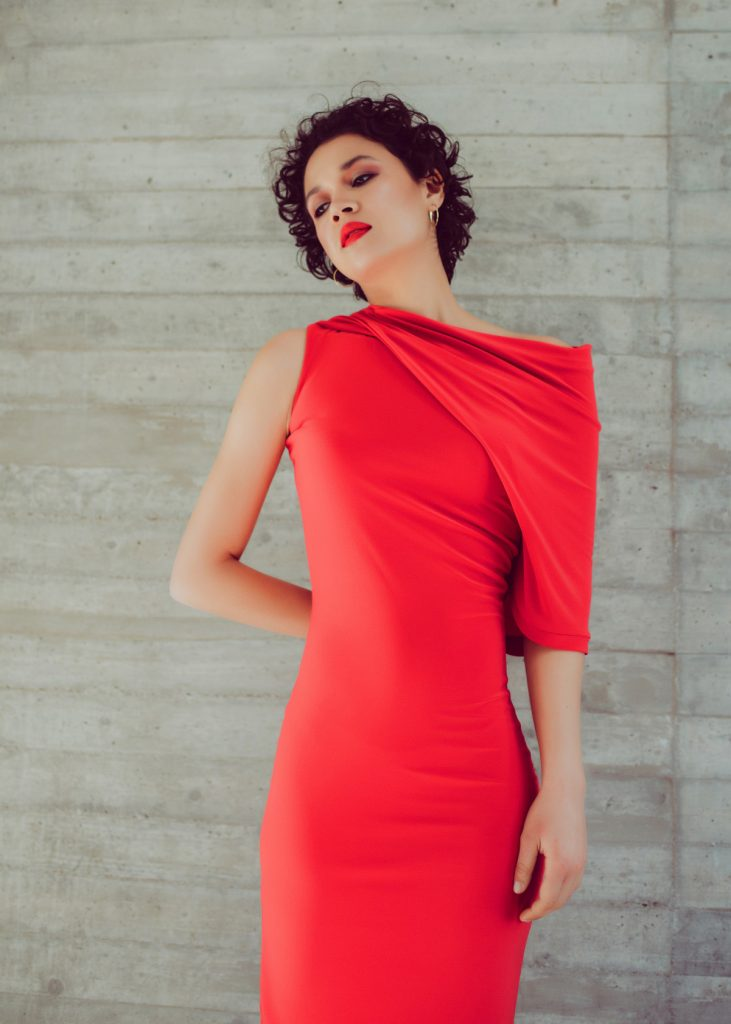 One sleeve draped bodycon dress in coral
