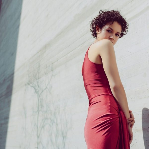 Side knot draped dress in dark red