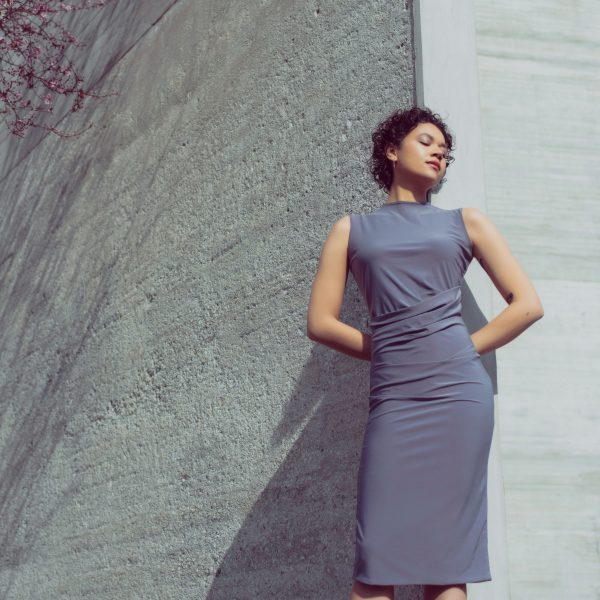 Jersey draped bodycon dress in lavender grey