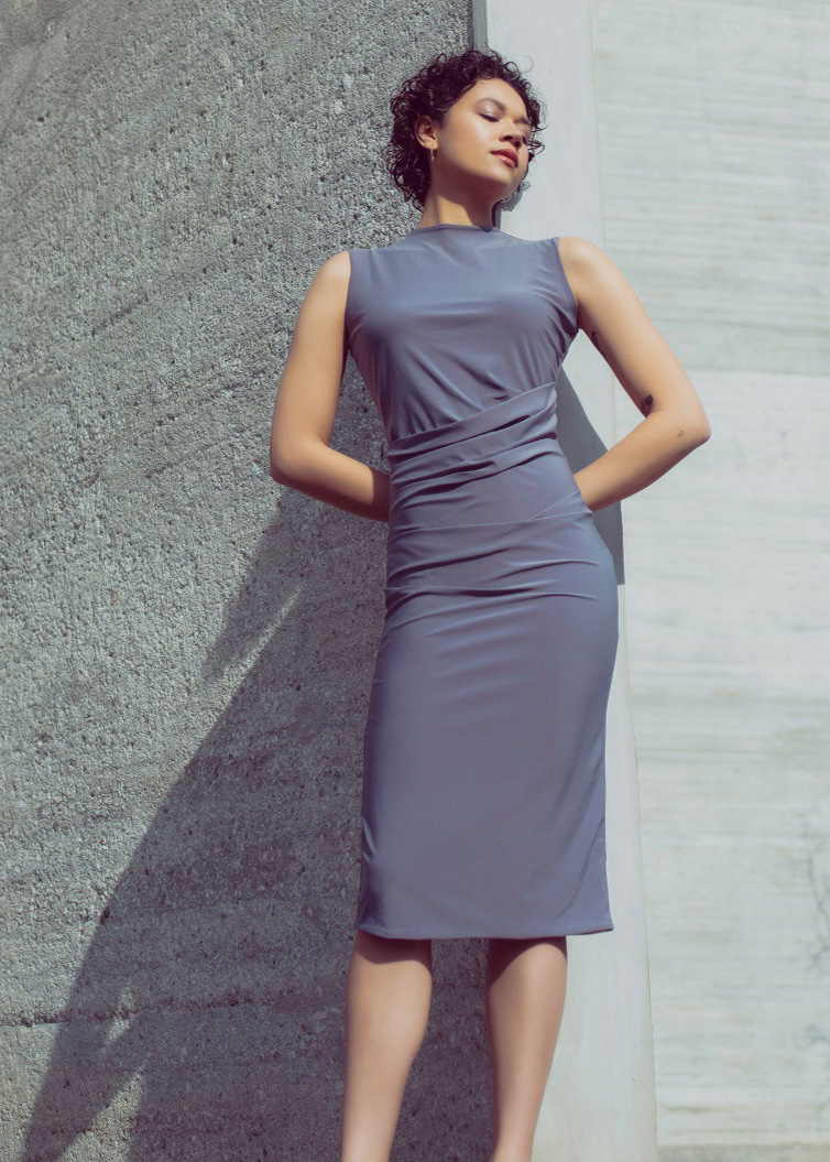 Draped bodycon dress in lavender grey