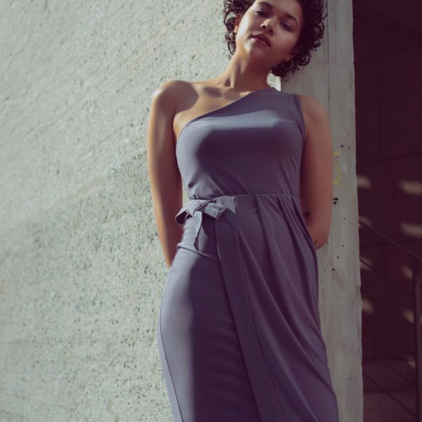One shoulder bodycon dress with a side-wrap pleated skirt