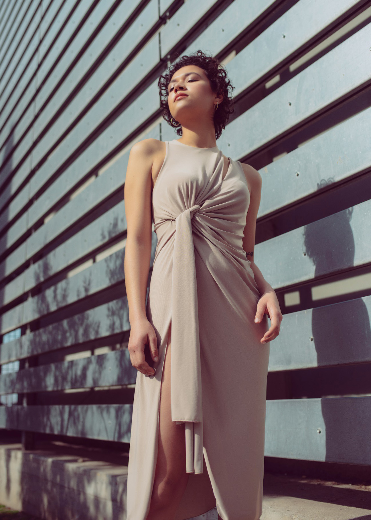 Side twist asymmetric drape dress in nude