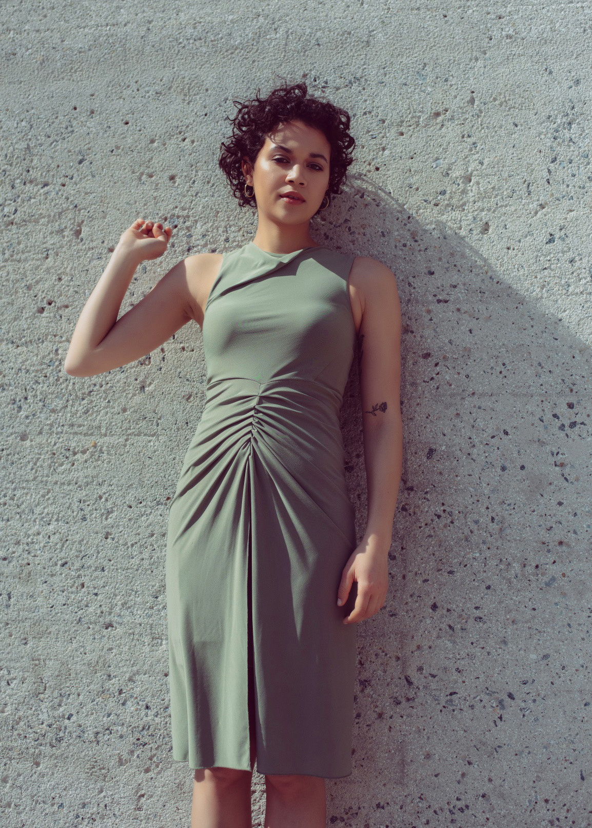Fishtail draped dress in olive