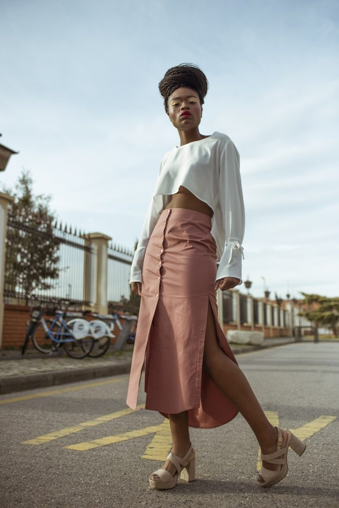 Heavy Cotton Button Up Skirt, Light Salmon