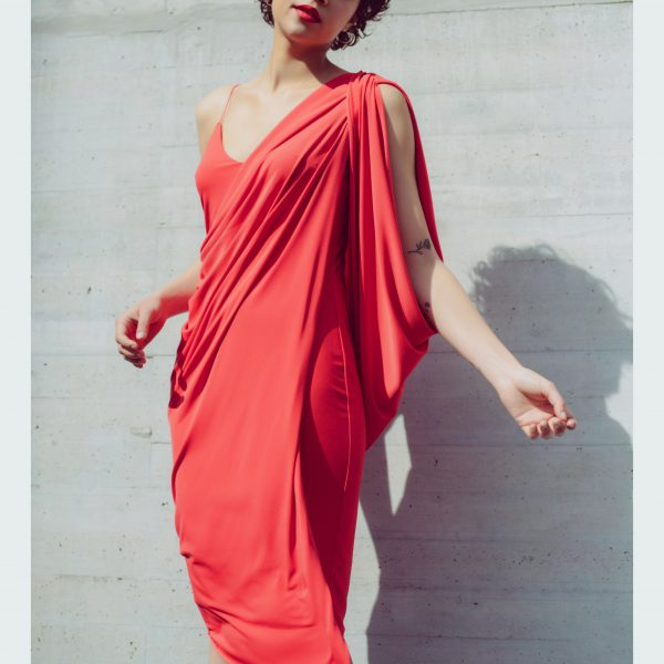 Queen draped dress in coral