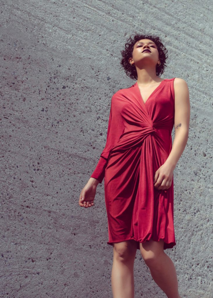 One sleeve draped cocktail dress in dark red