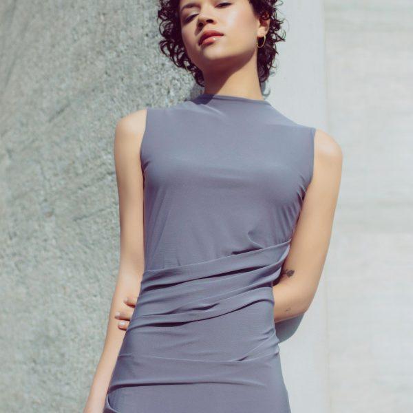 Draped bodycon dress in lavender grey