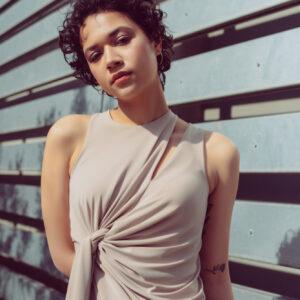 Side twist asymmetric drape dress in nude
