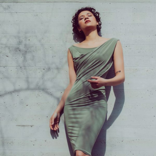 Bodycon draped dress in olive