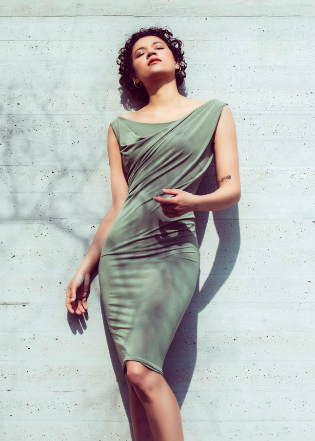 Bodycon draped dress in olive