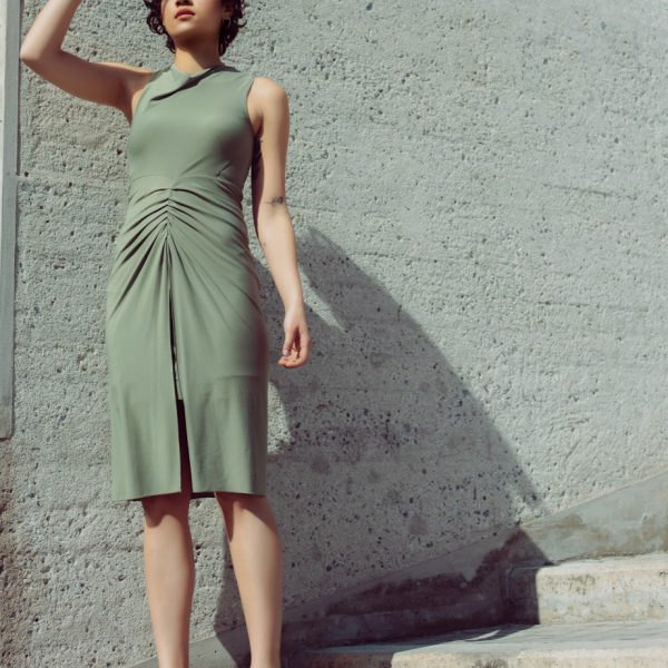 Fishtail draped dress in olive