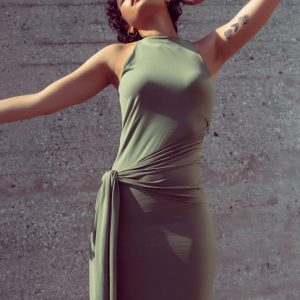 Soft super jersey bodycon dress with a side draped knot