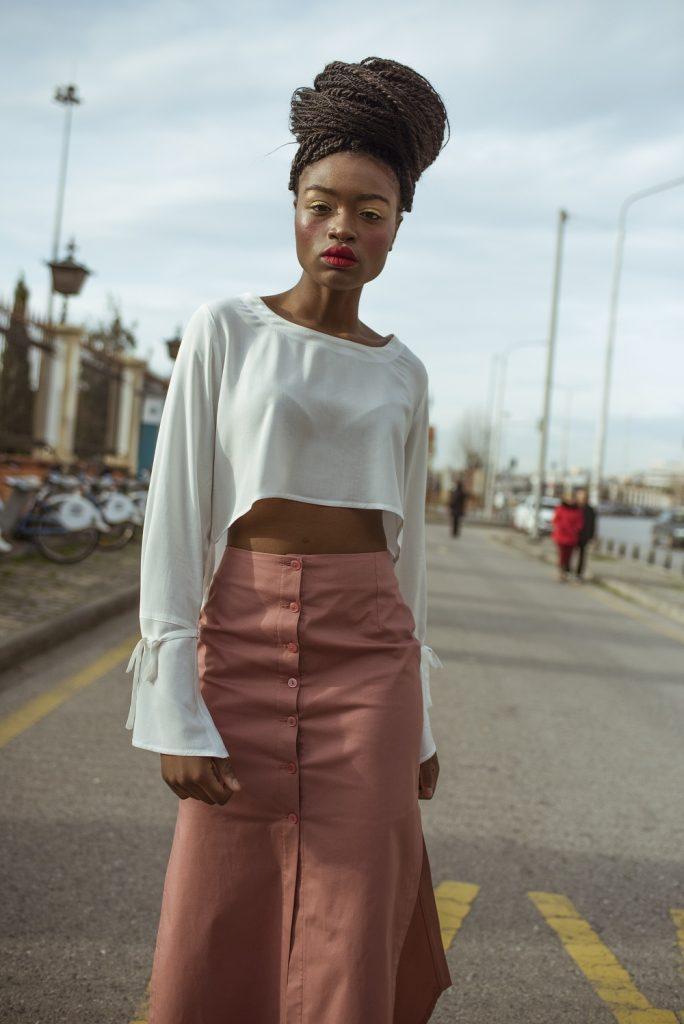 Heavy Cotton Button Up Skirt, Light Salmon