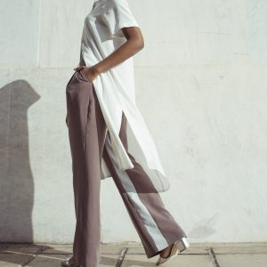 Wide leg pleated trousers with inner stripe Yulia Malisaki SS2018